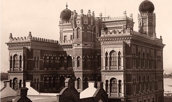 Photograph of the rear view of the Moorish Pavilion