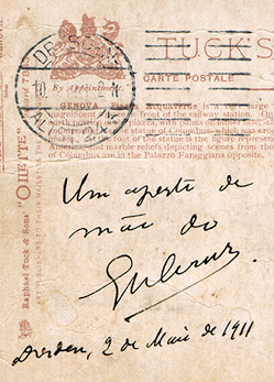Post card signed by Oswaldo Cruz in Dresden, Germany, May 2, 1911