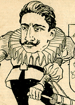 Caricature of Oswaldo Cruz with a syringe in his hand