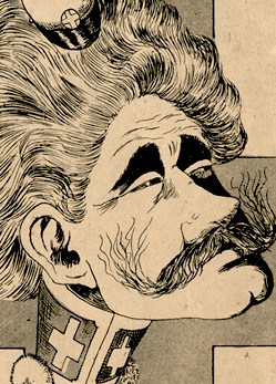 Caricature of Oswaldo Cruz, emphasizing his face and two crosses drawn on his collar
