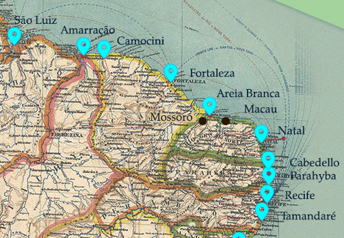 Part of Brazil map showing the ports visited by Oswaldo Cruz